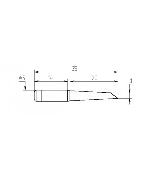 Насадка паяльная M20-DB-11, 0,8мм двухсторонний срез, износостойкая