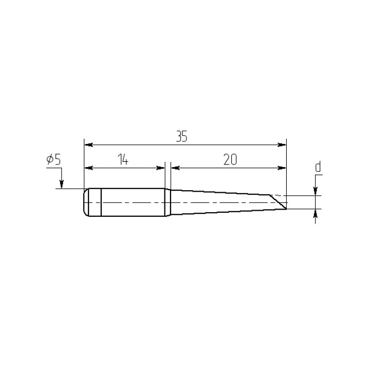 Насадка паяльная M20-DB-02, 2,5мм двухсторонний срез, износостойкая