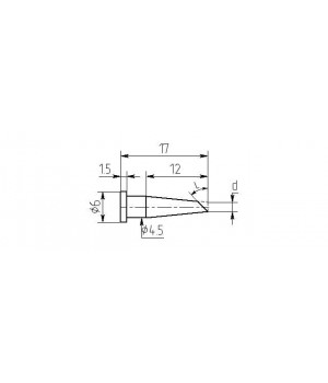 Насадка паяльная MW12-DB-01-45, 1.5мм, односторонний срез, износостойкая