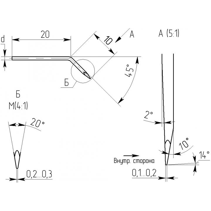 Вольфрамовый электрод 20-10-0,25-0,15 (3 пары)